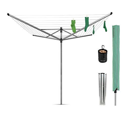 Brabantia Lift-O-Matic Wäschespinne, mit Wäscheklammerbeutel, Wäscheklammern, Abdeckung und Erdspieß