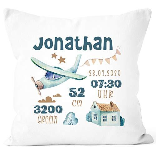 SpecialMe® personalisierbares Kissen zur Geburt, Geburtskissen, Namenskissen Flugzeug Watercolor Geschenk...