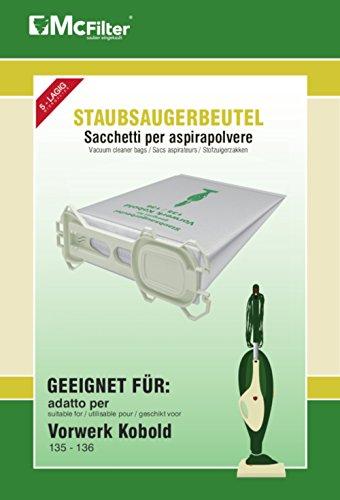 18 Staubsaugerbeutel geeignet für Vorwerk Kobold 135, 136, 135SC, VK 135 und VK 136 Staubsauger, 5-lagiger...