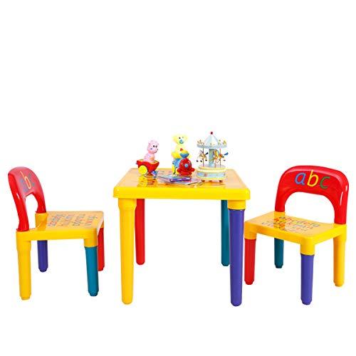 COSTWAY 3tlg. Kindersitzgruppe Kindermöbel Kindertisch mit 2 Kinderstühlen
