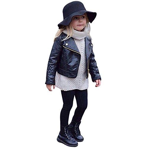 FeiliandaJJ Baby Kinder Mantel, Coat Jacken Herbst Winter Junge Mädchen Schwarz Pu Nähte Revers Lederjacke...