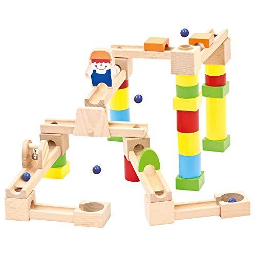Bino Baumurmelbahn aus Holz, Spielzeug für Kinder ab 3 Jahre, Kinderspielzeug (Murmelbahn mit vielen...