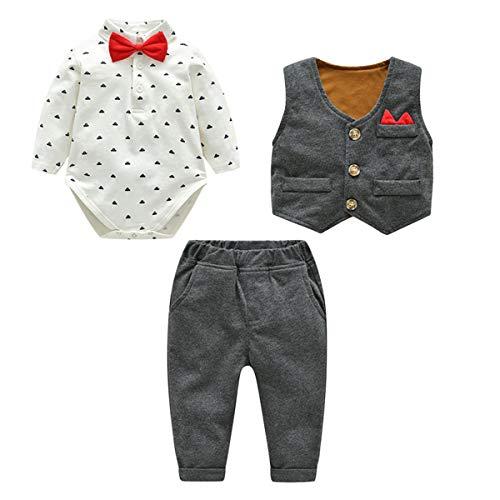 Famuka Baby Anzüge Baby Junge Sakkos Taufe Hochzeit Babybekleidung Set (Grau, 66, 9_Months)