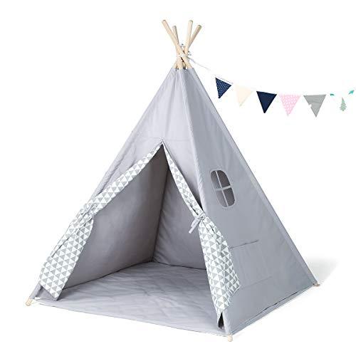 GIGALUMI Tipi Zelt mit Decke Fenster und Girlande Spielzelt Kinderzelt grau Indianerzelt für Kinder drinnen...