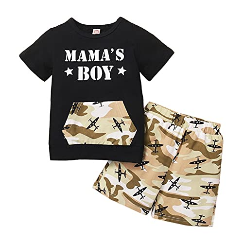 Loveablely Kleinkind Baby Jungen 2 Stück Set Tarnung Mama's Boys Print Kurzarm Top + Camo Hosen Outfits Tops...