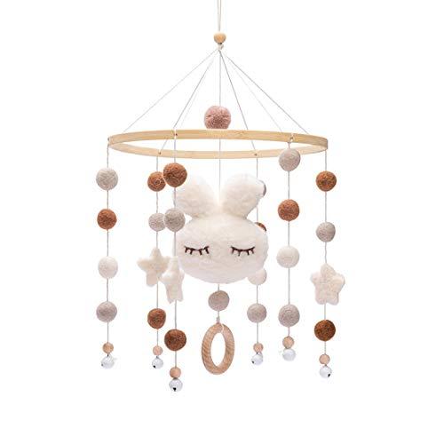 Promise Babe Mobile Baby Holz mit Filzbällen Kinderzimmer Hängende Bettglocke Hase Mobile Windspiel für...