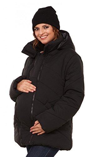 Happy Mama. Damen Kapuzen Wattierte Jacke herausnehmbaren Einsatz Langarm. 075p (Schwarz, EU 40, L)