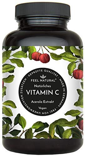 Acerola Kapseln - Natürliches Vitamin C - 180 vegane Kapseln im 6 Monatsvorrat - Ohne unerwünschte Zusätze...