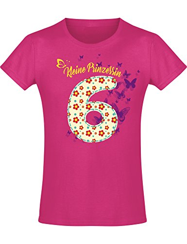 Mädchen Geburtstags T-Shirt: 6 Jahre mit Blumen - Sechs Sechster Geburtstag Kind-er - Geschenk-Idee -...