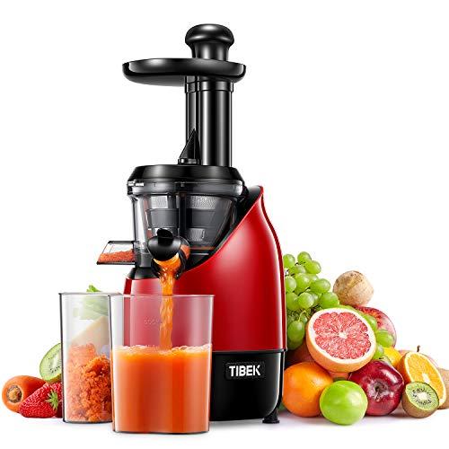 Slow Juicer, Edelstahl Entsafter Saftpresse, Entsafter Gemüse und Obst mit Ruhiger Motor, Leicht zu Reinigen,...