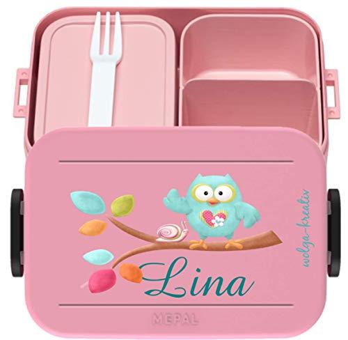 wolga-kreativ Brotdose Lunchbox Bento Box Kinder Eule am AST mit Namen Mepal Obsteinsatz für Mädchen Jungen...