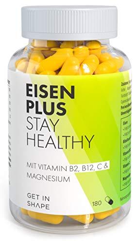 EISEN PLUS Kapseln vegan mit 80 mg natürlichem Vitamin C, Magnesium, B2, B12, hochdosiert. Mit hoher...