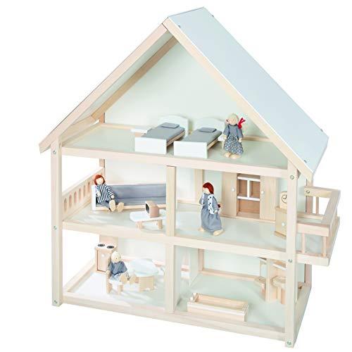 roba Puppenhaus, Puppenvilla inkl. Möbel und Puppen, Mädchen Spielzeug, Holz natur, 9457BC