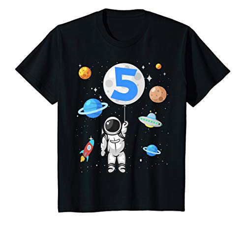 Kinder Astronaut 5. Geburtstag Weltraum Jungen 5 Jahre Raumschiff T-Shirt