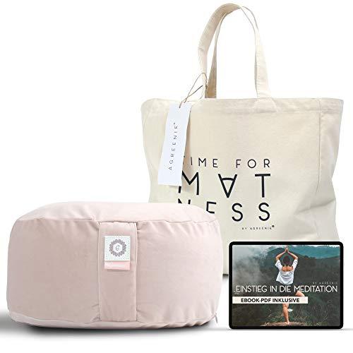 aGreenie Yogakissen aus Samt - rundes Meditationskissen gefüllt mit Buchweizen - Sitzhöhe 15cm - waschbarer...
