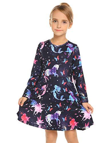 Kleid Mädchen Langarm Einhorn Meerjungfrau Blumen Herbst Karikatur Prinzessin T-Shirt Kleider...