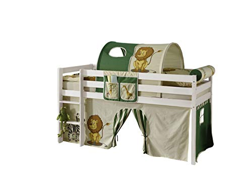Jugendmöbel24.de Hochbett Aron 90 * 200 cm Kiefer massiv weiß TÜV EN geprüft FSC Zertifiziert Kinderzimmer...