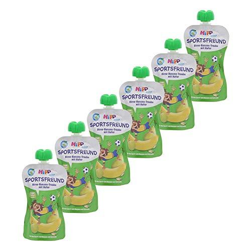 HiPP  Sportsfreund Quetschbeutel (Birne-Banane-Traube mit Hafer, 100% Bio-Früchte ohne Zuckerzusatz) 6 x 120...
