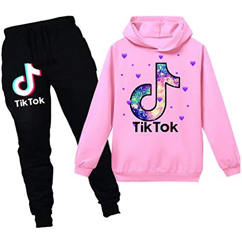 TIK Tok Unisex Kinder-Bekleidung Anzug bestehend aus Kapuzenpullover und Hose Gr. 9-10 Jahre, Rosa 2