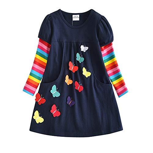 VIKITA Mädchen Kleider Streifen Langarm Baumwolle Herbst Winter T-Shirt Kleid LH5805 7T