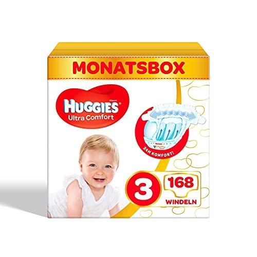 Huggies Ultra Comfort Babywindeln, Größe 3 (4–9 kg), 168 Stück