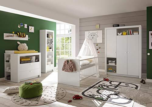 lifestyle4living Babyzimmer Komplett-Set in weiß, Babyzimmer Komplettset besteht aus 4 Teilen, Babyzimmer Set...