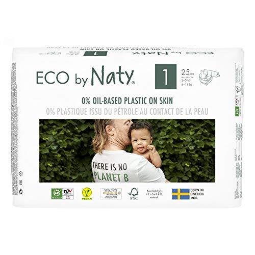 Eco by Naty, Größe 1, 100 Windeln, 2–5kg, MONATSVORRAT, pflanzliche Premium-Bio‑Windeln mit 0% Plastik...