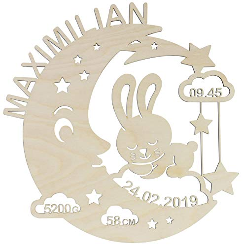 LAUBLUST Schlummerlicht Mond-Hase - Personalisiertes Baby-Geschenk zur Geburt & Taufe - LED...