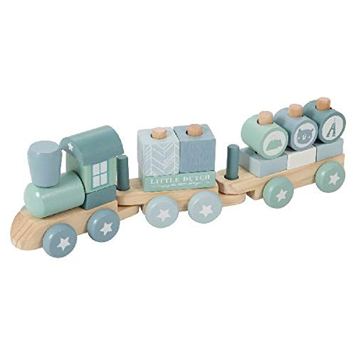 Little Dutch 0422017 Holz-Eisenbahn mit Steck-Formen, adventure mint