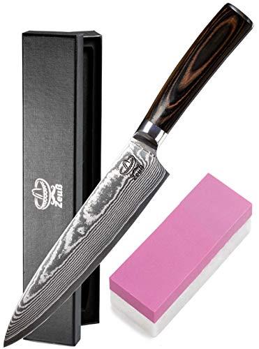 Zeuß XXL Küchenmesser Damastmesser (32cm) - Profimesser - Santoku - Kochmesser - Chefmesser - Allzweckmesser...