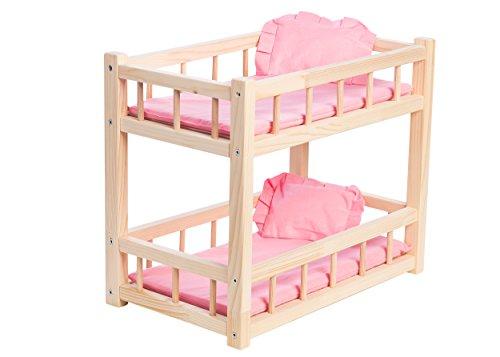 WOODTASTIC Puppenetagenbett für Babypuppen bis zu 36 cm, Puppen Etagenbett mit rosa Bettwäschegarnitur