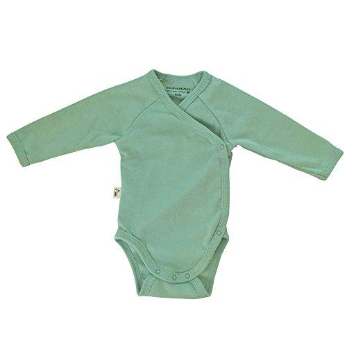 Grünspecht 630-V1 Bio-Wickelbody langarm, kbA GOTS, Babybody, Bio-Baumwolle, Größe: 62/68, grün