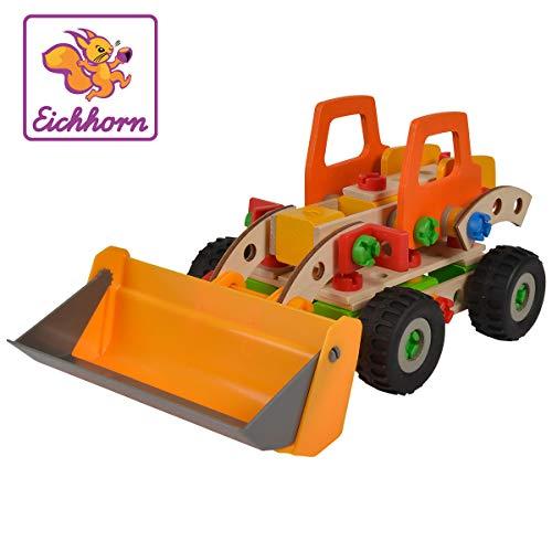 Eichhorn 100039057 Constructor Radlader vielseitiges Holzspielzeug, 140 Bauteile, 6 verschiedene...
