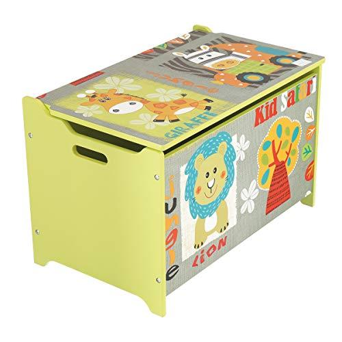 Bieco Spielzeugtruhe und Sitzbank | Aufbewahrungsbox Kinder | Holzkiste mit Deckel | Sitzbank mit Stauraum |...