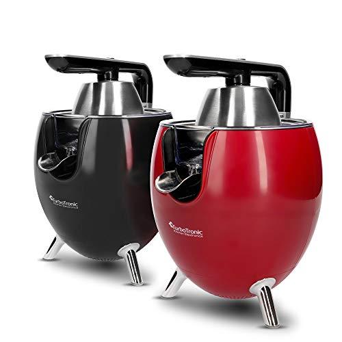 TurboTronic / Zitruspresse elektrisch / schwarz, rot / 300W, Saftpresse mit 2 Presskegeln, Edelstahlfilter und...