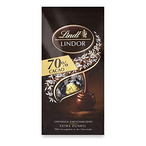 Lindt Lindor Edelbitter Schokoladenkugeln mit 70 % Kakao (ca. 10 Kugeln), 4 x 136 g