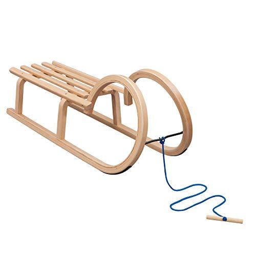 Vispronet Hörnerschlitten, Tragfähigkeit 90 kg, inkl. Zugseil, Holzschlitten für Kinder & Erwachsene,...