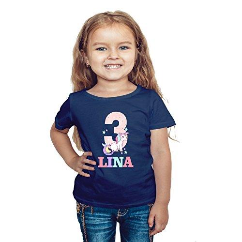 wolga-kreativ T-Shirt Geburtstag Mädchen ich Bin Schon 1 2 3 4 5 6 7 8 9 Jahre mit Namen Einhorn...