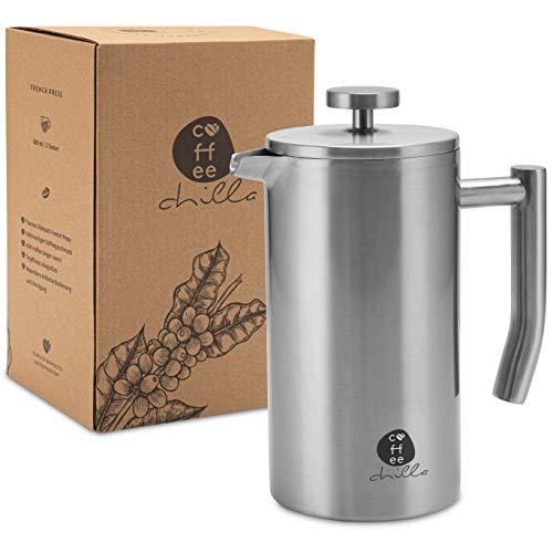 coffeechilla French Press Edelstahl 0,6 Liter - Anti-Fingerprint Technologie - Thermo Kaffeebereiter,...