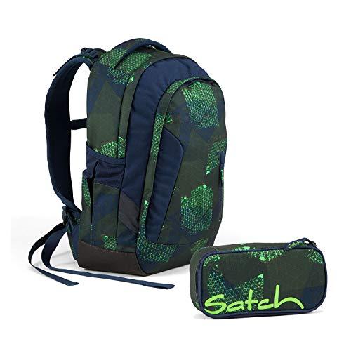 Satch Sleek Infra Green Schulrucksack Set 2tlg.