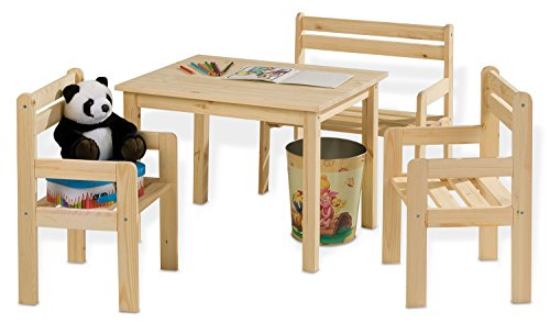 Home4You 4-teilige Sitzgruppe Kindersitzgruppe Kindertischgruppe Holzsitzgruppe   Mit Kindertisch, Sitzbank...