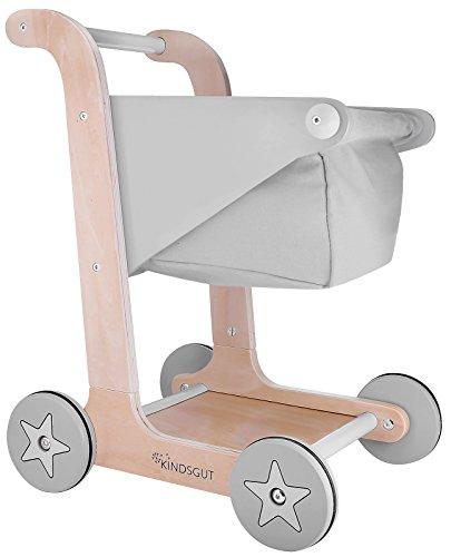 Kindsgut Einkaufswagen aus Holz für Klein-Kinder, Kaufladen Zubehör, hochwertige Qualität, Schlichtes...