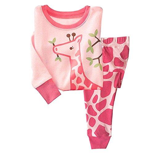 Tkiames Schlafanzug für Mädchen, Motiv: Giraffe, 2-teiliges Set, schmale Passform, 100 % Baumwolle (Größe:...