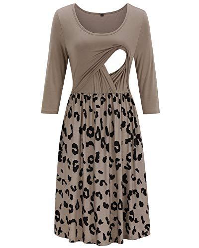OUGES Damen Umstandskleid, einfarbig, Blumenmuster, Stillkleid - - Mittel