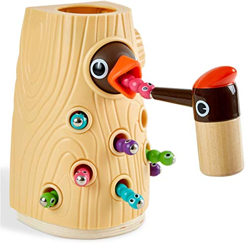 TOP BRIGHT Magnetisches Spielzeug Kinder Spiel ab 2 Jahre, Wurm Fangen Spiel Montessori Spielzeug,...