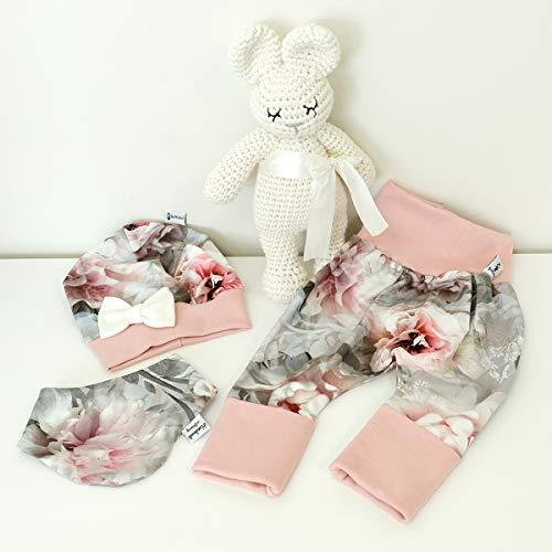 ANGEBOT Set - Hose, Schleifenmütze, Halstuch - Hibiskus Grau Rose (Rose) Baby Mädchen