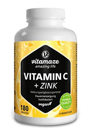 Vitamin C hochdosiert 1000 mg + Zink, vegan & optimal bioverfügbar, 180 Tabletten für 6 Monate, Natürliche...