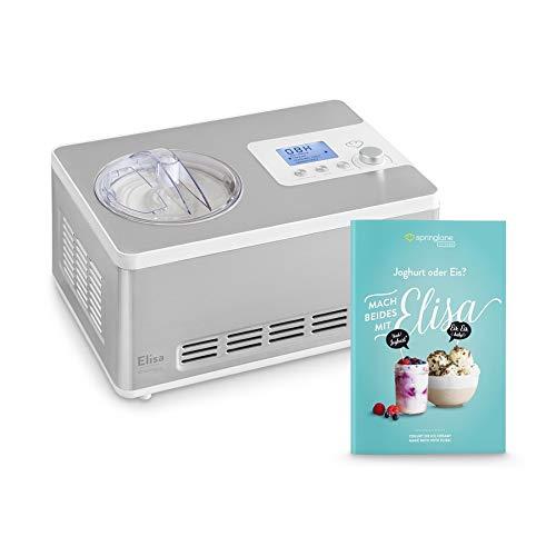 Eismaschine & Joghurtbereiter Elisa 2,0 L mit selbstkühlendem Kompressor 180W, aus Edelstahl mit Kühl- und...
