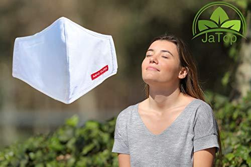 JaTop Mund-und Nasen-Maske waschbar 60 Grad aus Baumwolle dreilagig Neue - Technologie, jetzt mit Soft-...