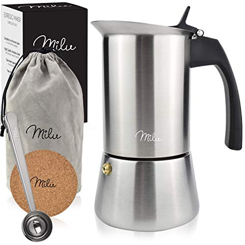 Milu Espressokocher Induktion geeignet, | 2, 4, 6 Tassen| Edelstahl Mokkakanne, Espressokanne, Espresso Maker...